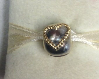 Authentic Pandora Two-Tone Braided Hearts Charm #790599