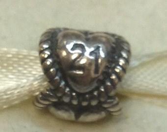 Authentic Pandora Silver Birthday Milestone, 21 #791048