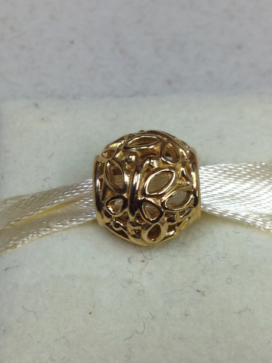 authentic pandora 14kt yellow gold butterfly garden charm