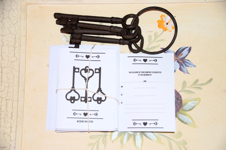 Key Themed Wedding Invitations: Key Blank Wedding Invitation. Key To Our Heart Theme