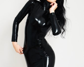 Long Sleeved Latex Dress, Knee length Dress. Made to measure.