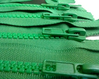 5 GREEN Molded Plastic Zippers 9 Inches 5mm Closed Bottom - (5 zippers)