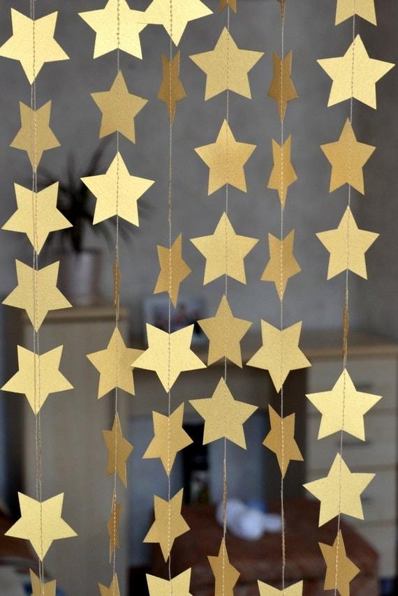 Gold Paper Star Garland Wedding Garland By Happyholidaydecor