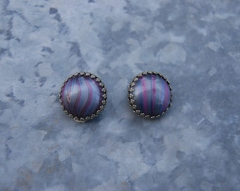 Vintage Marbled Purple Glass Button Earrings