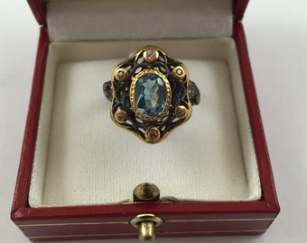 New GORGEOUS 2.14 ct Blue Topaz on 18K Yellow Gold over Sterling Silver Ring size 7.5