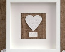 Personalised Happily Ever After Framed Clay Heart Wedding, Anniversary, Birthday, Valentines Gift From The White Heart Gift Company.