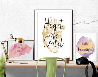 Heart of Gold Print, Anatomical Heart, Gold Foil Heart, Typography Print, Digital Printable, Anatomical Drawing, Anatomy, Cardiology,Medical