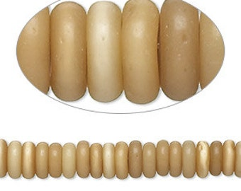 """Beige Glass Bead, Rustic Bead, Rondelle Bead, 6x2mm to 8x3mm, Primitive, Rustic, 15"""" strand, D615"""