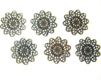 Brass Connector, Antiqued Brass Flower, 18mm, 10 each D260