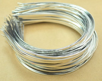 Silver Headbands,50pc 3mm(1/8 inch)silver plated Metal Headbands,Thin, with bent ends for best comfort,Wholesale,plain and simple.