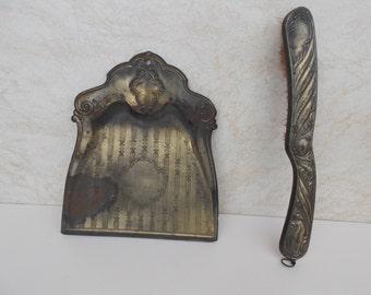 Vintage broom and shovel , home decor , small broom , small shovel , metal , decor