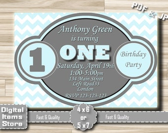 Birthday Invitation Boy One, First Birthday Invitation, Invitation Boy 1st, First Birthday Party Invitation for Baby Boy in Baby Blue Color