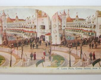 Stereoview Card, Color, Luna Park, Coney Island, New York, A.C. Co., 1925