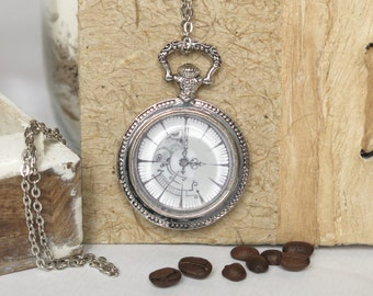 necklace ...timeIsRelative..., hand drawn, pencil drawing, pocket watch, cabochon, antique silver