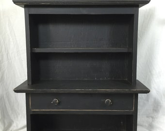 Apothecary Cabinet in distressed black paint