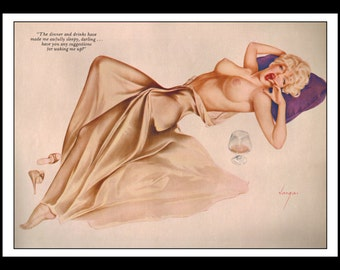 """Vargas Playboy Pinup Girl Vintage January 1962 """"Waking Up"""" Sexy Blonde Nude Mature Wine Dress Glass Pinup Wall Art Deco Print"""