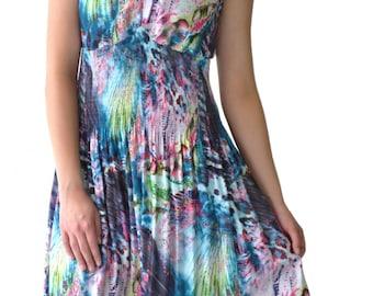 Digital print pleated skater dress
