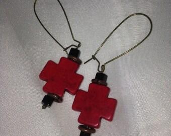 Red cross dangle earrings