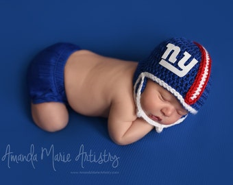 Baby Boy New York Giants Football  Helmet --Baby Football outfit-- crochet baby shower gift--Baby Newborn Photo Prop