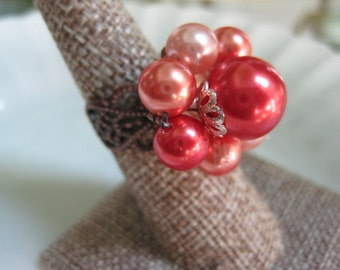 Upcycled Ring Vintage Ring Repurposed Jewelry Red Filigree Vintage Earring OOAK Repurposed Upcycled Recycled Gift for Her eco friendly /R5
