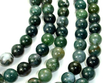 Moss Agate, Round beads, 10mm (10.5 mm), 15.5 Inch, Full strand, Approx 38 beads, Hole 1 mm (323054004)