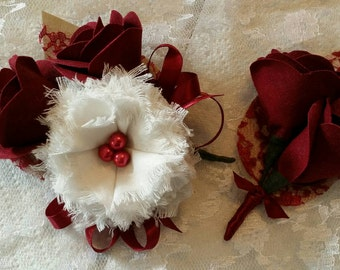 Red and White Fabric Flower Corsage and Boutonniere