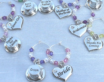 Deep Purple - Wedding Table Decorations - Champagne \ Wine Glass Charms Favours