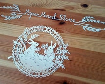 From One Bunny to Another. Easter Papercut Template