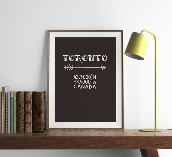 Toronto coordinates print kitchen wall art art by for Home decor toronto