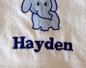 SALE - White Appliqued towel - Katie or Hayden