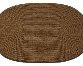 Solid Medium Brown Braided Rug