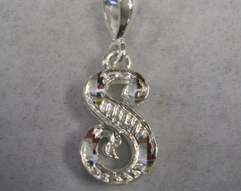 Letter S initial pendant charm in sterling silver