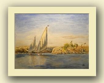 Egypt Aswan city - nile river ruins decor- ancient nile original art wall -  orientalist - Original watercolor painting- Juan Bosco