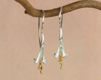 Fuchsia Earrings / Silver Flower Earrings / Drop Earrings / Dangle Earrings for Pierced Ears / Gold and Silver jewellery