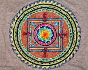 Large T shirt Mandala psy hippy top