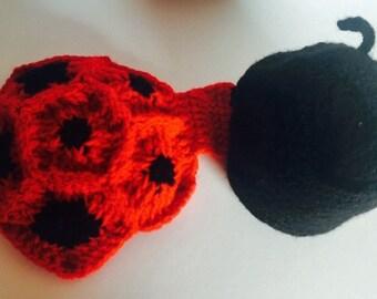 """Ladybug """"blanket"""" and hat baby photo prop"""
