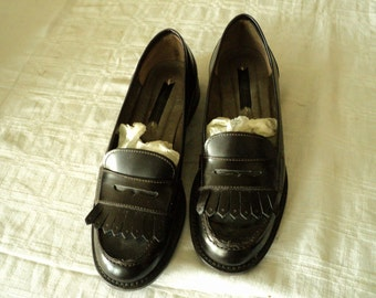 Brown leather loafers shoes n. 38 IT