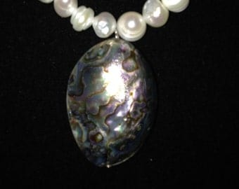 Fresh Water Pearl Necklace with Abalone Pendant