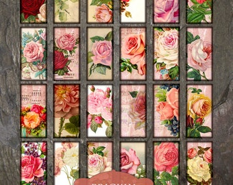 "Summer Roses, Domino Clip Art, Digital Collage Sheet, Victorian Flowers, Jewelry Making, 1""x2"" Crafts, Digital Downloads, domino tiles"