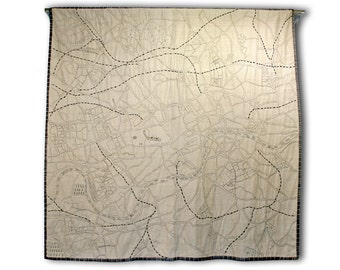 Luxury Embroidered London Map Quilt