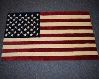 Vintage US flag rug hand knotted for Wall hanging