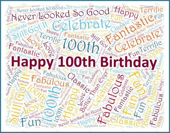 Birthday party 100th decoration 100th birthday by jdpprints for 100th birthday decoration ideas