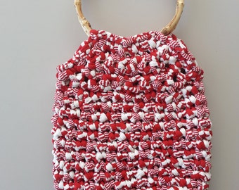 Red And White Shopping Bag With Round Bamboo Handles