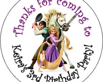12 Rapunzel Princess Theme Birthday Party Stickers 2.5 inch Round Personalized kids tangled