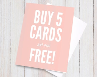 Buy 5 Get 1 Free Greeting Cards, mix and match gifts cards deal, discount stationery