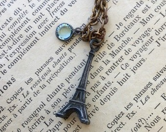 Eiffel Tower Necklace with Light Blue Swarovski Crystal Drop Bead
