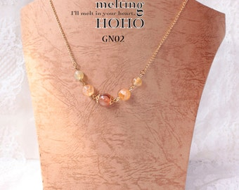 Orange Beaded Crystal Golden Necklace