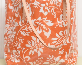 Orange Floral Tote Bag, Laminated Beach Bag, Pool Bag, Carry On, Laptop Bag