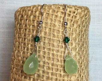 Sterling silver green briolette earrings