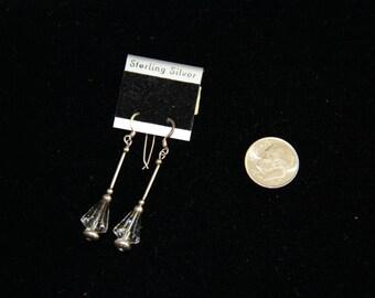 Sterling Silver Crystal Drop Earrings Vintage 1980's  NEW!